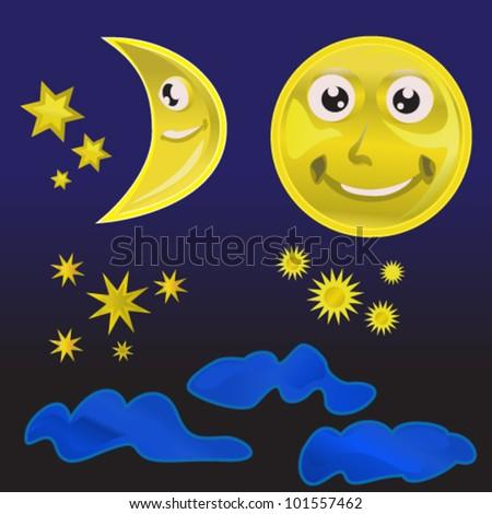 night sky element set - stock vector
