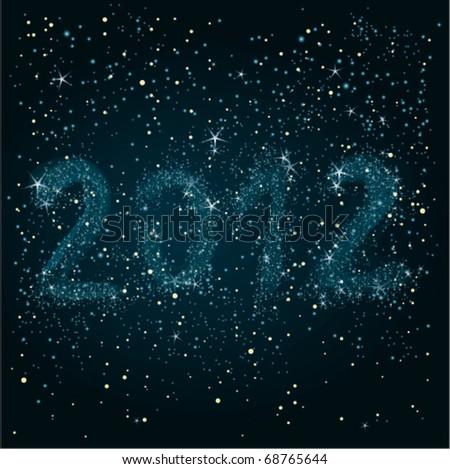 Night sky 2012 / Happy New Year greeting card. - stock vector
