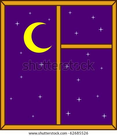 Night sky in a window - stock vector