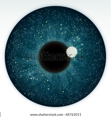 Night sky in blue eye - stock vector