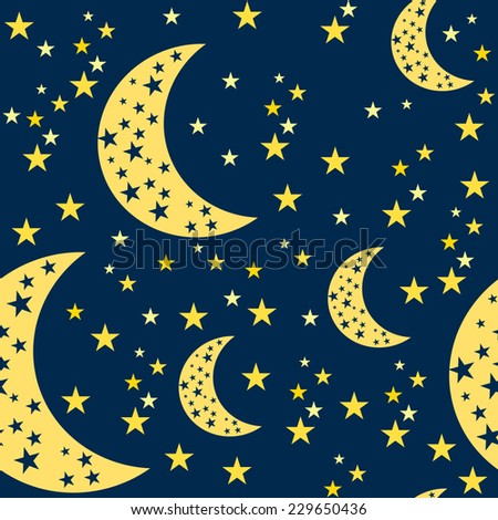 Night Sky Seamless Pattern. Moon and Stars Vector Background