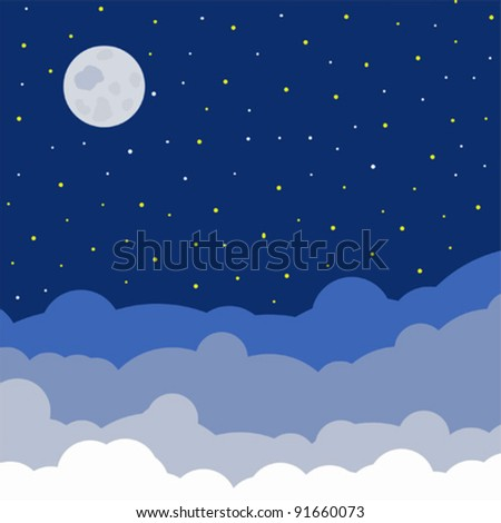 night sky vector with full moon clouds and stars