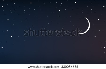 night sky with a crescent moon and stars - stock vector