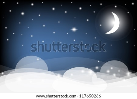 Night Sky with Moon, Clouds and shining Stars. Vector illustration. - stock vector