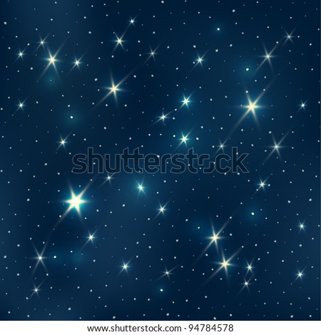 Night sky with stars, seamless pattern, EPS10 - stock vector