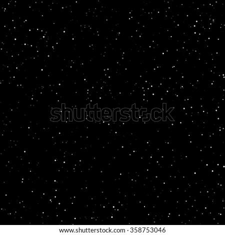 Night Sky with Stars, Starry Night Sky, Snow in the Night Sky,  Vector Illustration - stock vector
