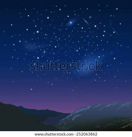 Night starry  sky over the mountains - stock vector
