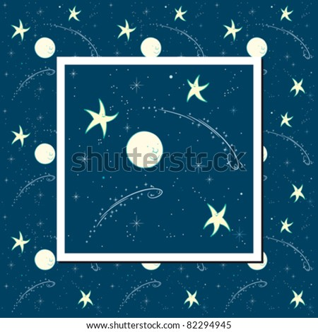 Night time sky background with moon, stars, meteors and falling stars, all with cheerful faces. Can be used as seamless pattern.