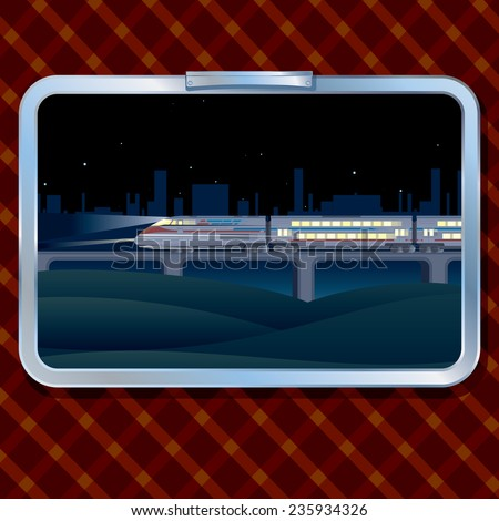 Night Train and Landscape. A view from a Window of a Train - stock vector