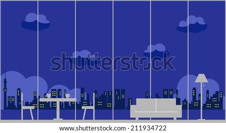 night view - stock vector