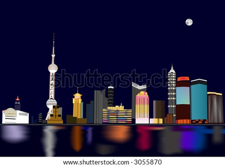 Night view of Shanghai, China. - stock vector