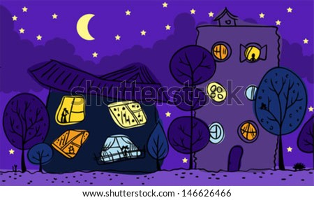Night view. Two houses, trees, bright window. - stock vector
