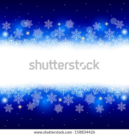 Night winter background with snowflakes and glowing place for text. Vector illustration. - stock vector