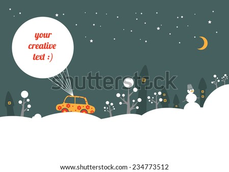 Night winter street - stock vector