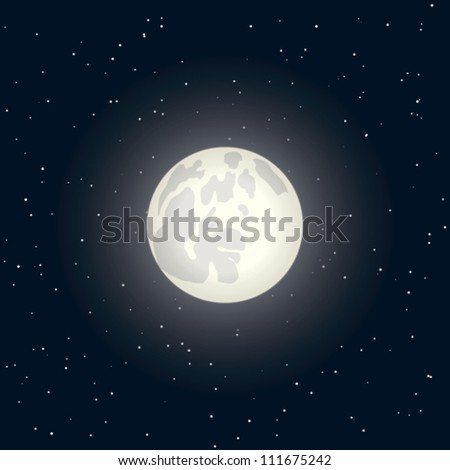 night with full moon on a dark  sky with stars - stock vector
