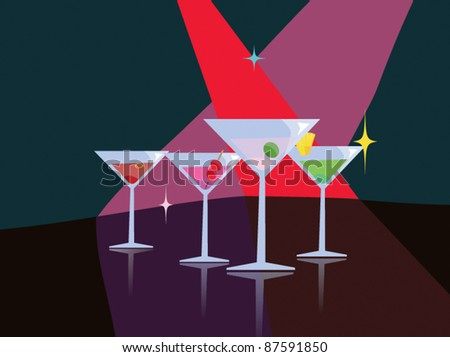 nightclub cocktail vector scene - stock vector