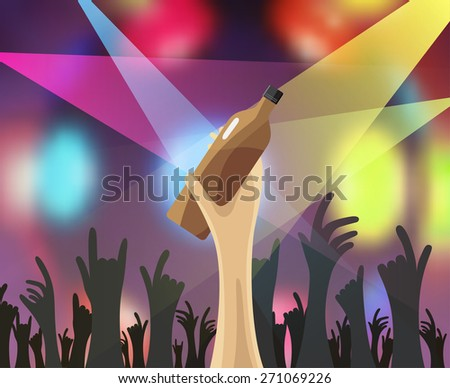 nightclub disco party concert and drink, vector background - stock vector
