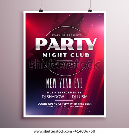 Nightclub Party Flyer Template Design With Event Details  Flyer Samples For An Event