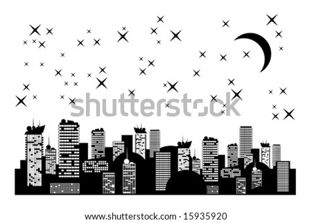 nightly city with moon and stars