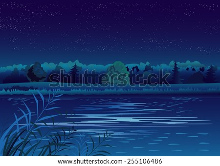 Nightly landscape with pond