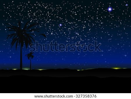 Nights sky with stars and palm trees in silhouette - stock vector