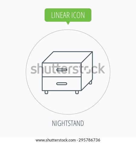 Nightstand icon. Bedroom furniture sign. Linear outline circle button. Vector