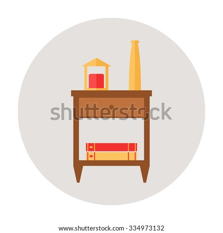Nightstand. Isolated nightstand icon on background. Wooden furniture for bedroom. Bedside table icon. Flat style vector illustration.  - stock vector