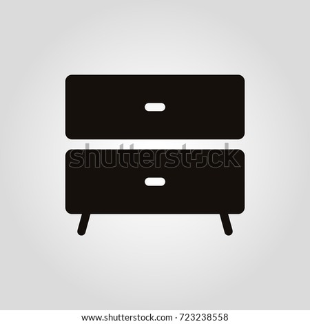 Nightstand Vector Icon Furniture Types Bedside Stock Vector