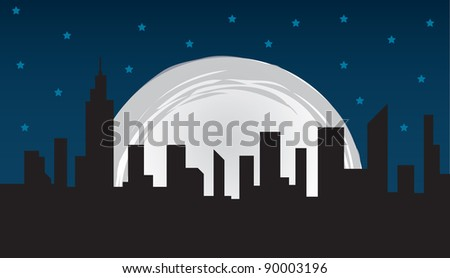 Nighttime city skyline and large moon