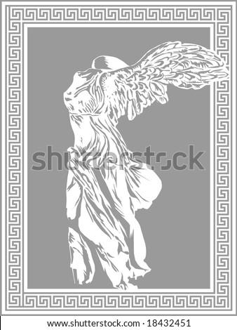 Nike illustration on decorative Greek frame. Ancient art vector template. - stock vector