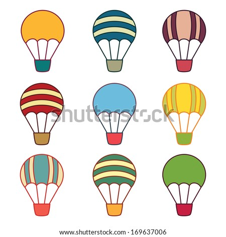 Nine Air balloons samples on the white background