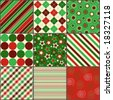 nine background patterns in Christmas colors - stock vector