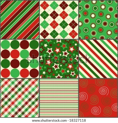 nine background patterns in Christmas colors