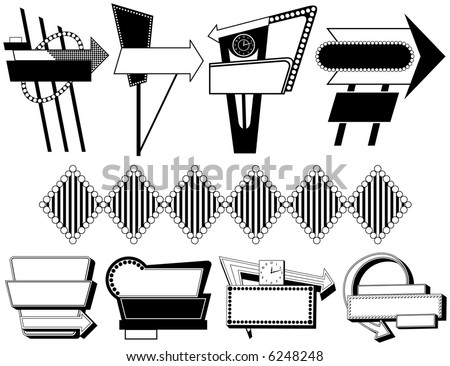 Nine Black and White Retro Advertising Signs - stock vector
