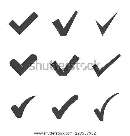 Nine black check mark icons. Vector illustration - stock vector