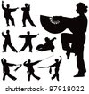 Nine black vector silhouettes of people practicing Tai Chi - stock photo