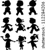 Nine children black silhouettes. Boy and girls walking, running and playing - stock vector