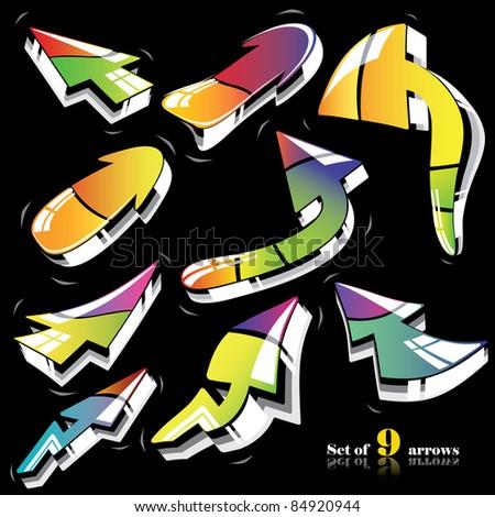 Nine colorful 3d vector arrows set - stock vector