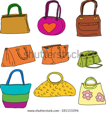 Nine colorful purses and cloth shopping bags over white - stock vector