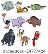 Nine cute wildlife cartoon animals. - stock photo