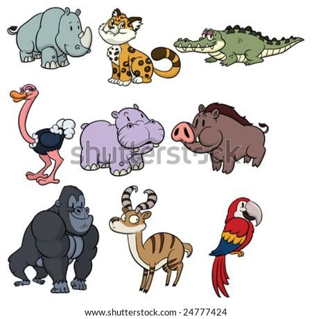 Nine cute wildlife cartoon animals. - stock vector