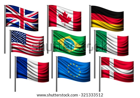 Nine different flags of major countries. Vector.