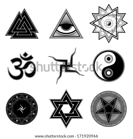Nine different religion symbols - stock vector