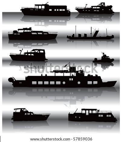 Nine different ship silhouettes situated on water surface with shadow. Vector illustration. - stock vector