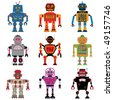 Nine different Vector retro cute little Robots - stock vector