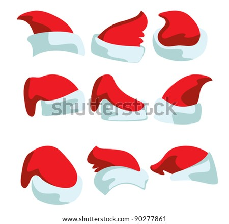 Nine drawings of red Christmas hats for Santa - stock vector