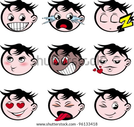 Nine emoticons with various expressions - stock vector