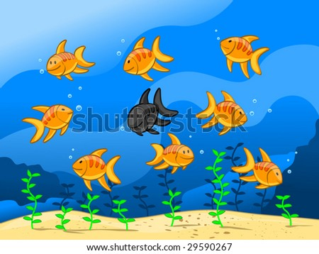 nine fishes (editable layers) - stock vector