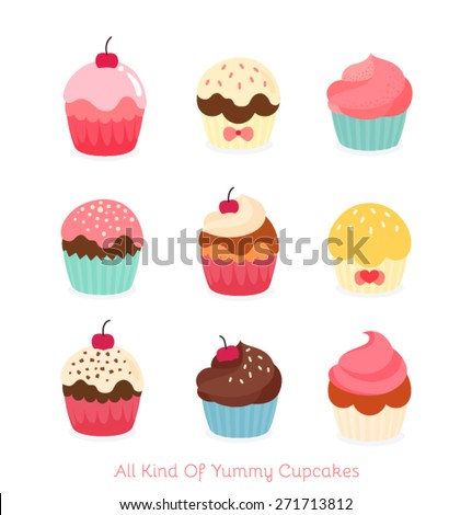 Nine flat cupcake illustration - stock vector