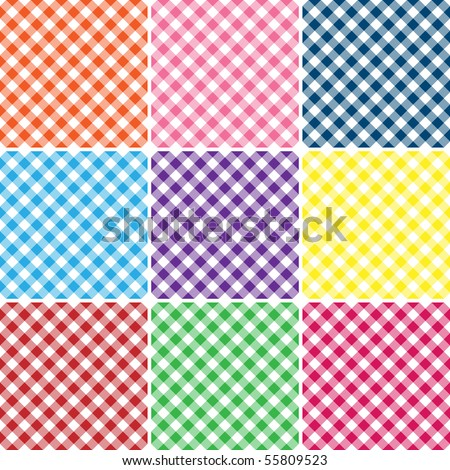 Nine Gingham Plaids Vector